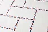 Postal Blank Envelopes With Striped Frame. Striped Post Envelopes. Simple Blank White Envelope Isola poster
