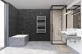 Gray Bathroom Interior With A Gray Floor, An Angular Bathtub, A Shower Stall, And A Double Sink. 3d  poster