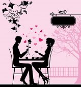 Silhouette of the couple in the cafe. Raster version of vector illustration.