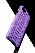 Exclusive Ultraviolet Snake Leather Case For Smartphone.luxury Case. On Black And White Background poster