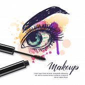 Vector Watercolor Sketch Illustration Of Colorful Female Eye And Makeup Mascara. Watercolor Backgrou poster