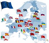 European country flags and map. All elements and textures are individual objects. Vector illustratio