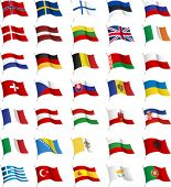 All European flags. All elements and textures are individual objects. Vector illustration scale to a