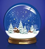 Vector snow globe with a town. Raster version of vector illustration.
