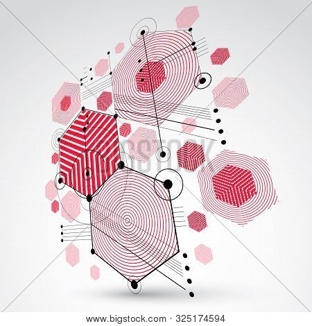 poster of Bauhaus Art, 3d Modular Red Vector Backdrop Made Using Hexagons And Circles. Retro Style Pattern, Pe