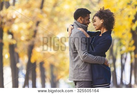 poster of Love And Romance Concept. Sweet Black Couple Hugging And Looking At Each Other, Autumn Trees Backgro