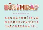 Cake Cartoon Font. Cute Sweet Letters And Numbers For Birthday Card, Baby Shower, Valentines Day, Sw poster