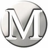 picture of letter m  - 3d steel letter M isolated in white - JPG