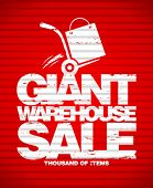 Giant warehouse sale design template with hand truck.