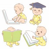 Set With Genius Clever Babies In Pajamas, Studying. poster
