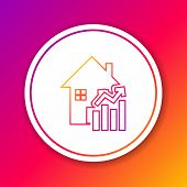 Color Line Rising Cost Of Housing Icon Isolated On Color Background. Rising Price Of Real Estate. Re poster