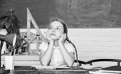 Thoughtful Child. Small Child In Classroom. Digital Age With Modern Technology. Small Girl Study Wit poster