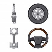 Isolated Object Of Auto And Part Sign. Collection Of Auto And Car Vector Icon For Stock. poster