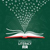 International Literacy Day Greeting Card Illustration Of Open Book With Alphabet Letters On Chalk Bo poster