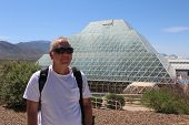 Man at Biosphere 2 near Tucson Arizona