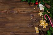 Bright Christmas Or New Year Wooden Wooden Background With Fir Branches, Christmas Decorations, Chri poster