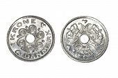 One Danish Krone Coins Isolated On White Background. poster