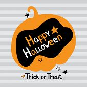 Halloween Greeting Card In Vector. Illustration Of A Pumpkin With Hand Drawn Text Happy Halloween An poster