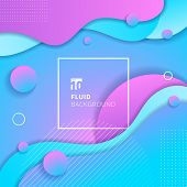 Abstract Blue And Pink Gradient Color Fluid Flow Shapes Circles Elements Background. Liquid Vibrant  poster