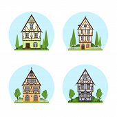 Set Of Isolated Colored Half Timbered Buildings On White Background. Flat Facade Of European Framing poster