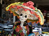 La Calavera Catrina -mexican Colorful Traditional Souvenirs. The Symbol Of The Holiday Of The Day Of poster
