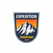 Expedition Mountains - Concept Vector Badge. Climbing Hiking Logo. Adventure Outdoors Emblem. Graphi poster