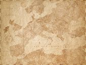 Vintage paper textured Europe map retro background. Based on image furnished from NASA. poster