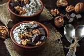 Two Cups With Yogurt With Chia Seeds, Walnuts And Dark Chocolate. Breakfast Or Dessert For Two. Heal poster