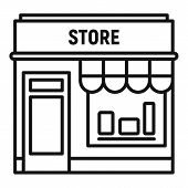 Street Shop Store Icon. Outline Street Shop Store Vector Icon For Web Design Isolated On White Backg poster