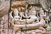 Vishnu and Lakshmi ancient Khmer carving