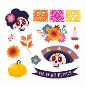 Dia De Los Muertos Isolated Vector Graphic Objects..mexican Day Of The Dead. Ornamental Skull With S poster
