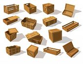 Wooden Packs Or Wood Boxes For Packaging. Set Of Isolated Mockup Or Closeup Of Lumber Cargo Square C poster