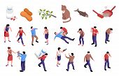 Isometric Horizontal Set Of Icons With Different Allergens And People Having Allergy Symptoms 3d Iso poster