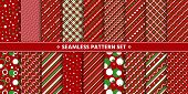 Simple Red White Green Seamless Pattern Set. Christmas Holiday Winter Season Background. Line, Strip poster