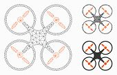 Mesh Quadcopter Model With Triangle Mosaic Icon. Wire Carcass Triangular Mesh Of Quadcopter. Vector  poster