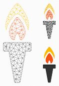 Mesh Torch Model With Triangle Mosaic Icon. Wire Carcass Triangular Network Of Torch. Vector Composi poster