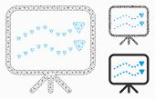 Mesh Dotted Trends Board Model With Triangle Mosaic Icon. Wire Frame Polygonal Mesh Of Dotted Trends poster