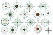 stock photo of crosshair  - vector illustration of collection of different target crosshair - JPG