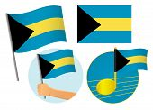 Bahamas Flag Icon Set. National Flag Of Bahamas Illustration poster