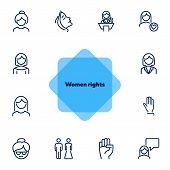 Women Rights Line Icon Set. Girl, Woman, Pair. Sociality Concept. Vector Illustration Can Be Used Fo poster