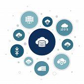 Cloud Storage Infographic 10 Steps Bubble Design. Cloud Backup, Data Center, Hybrid Storage, Data Co poster