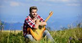 Pleasant Time Alone. Musician Looking For Inspiration. Dreamy Wanderer. Peaceful Mood. Guy With Guit poster