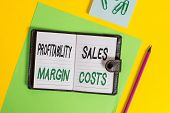 Conceptual Hand Writing Showing Profitability Sales Margin Costs. Business Photo Showcasing Business poster
