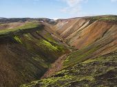 Colorful Rhyolit Mountain Panorma With Multicolored Volcanos And Small Creek In Landmannalaugar Area poster