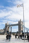 LONDON, UK - APRIL 30: Olympic flag with Tower Bridge in the background. April 30, 2012 in London. L