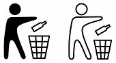 Keep Tidy Icon, Man Throwing Bottle In Recycle Bin Sign. poster