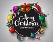 Merry Christmas Vector Banner. Merry Christmas Greetings Card With Circle Frame For Text And Message poster