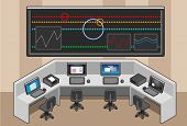 Isometric Control Center With Mega Screen