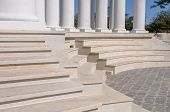 Staircase And Colonnade. Marble White Steps. Staircase At The Base Of The Columns. Rhythm. poster