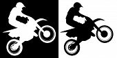 Motocross Rider And Motorcycle Silhouette Isolated Vector Illustration poster
